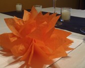 10 Orange paper dahlia napkin holders. Perfect for wedding receptions, dinner parties, baby showers, home decor. Tissue paper Pom Poms.