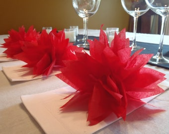 25 Cherry Red Paper Dahlia Napkin Rings. Perfect for weddings, receptions, baby showers, birthdays, dinner parties. Pom Pom