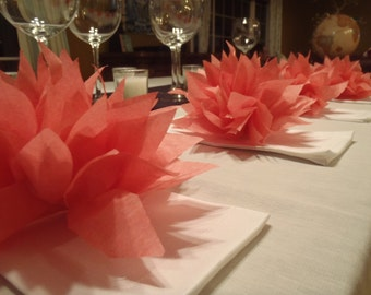 100 Coral-Island Pink Paper Dahlias. Napkin rings perfect for weddings, baby showers, dinner parties, home decor. Tissue paper pom pom
