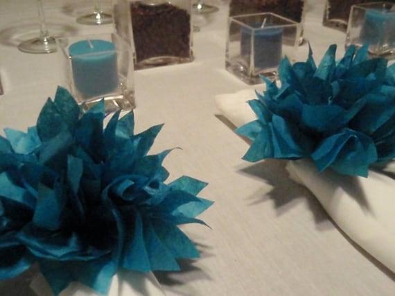 25 Peacock Paper Dahlias. Wedding decor, napkin holders, baby showers, dinner parties, birthday. Tissue paper pom pom.