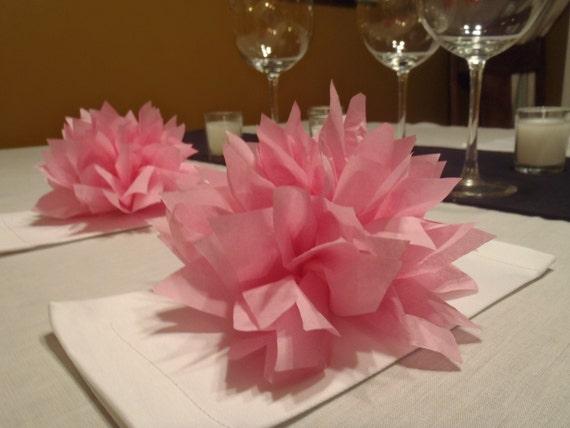 25 Raspberry paper Dahlia napkin holders. Eco wedding, hip parties, babies, wine night. Tissue paper Pom Pom flowers.