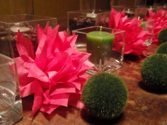 SALE 14 Watermelon Paper Dahlia Napkin Rings. Ready to Ship. FREE SHIPPING tissue paper pom pom