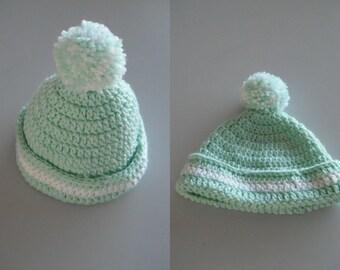 Newborn Crochet Beanie with Pom Pom