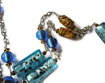 Brown and Blue lampwork Beaded lanyard Badge holder necklace