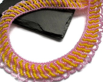 Beaded Collar necklace jewelry pink yellow bead candy
