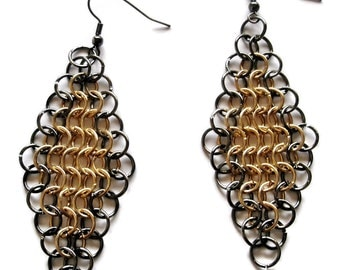 Chainmaille Earrings Jewelery  4 in one European weave two tone chainmaille Earrings Made to Order