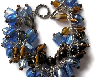 beaded bracelet brown blue silver chain glass lamp work jewelry