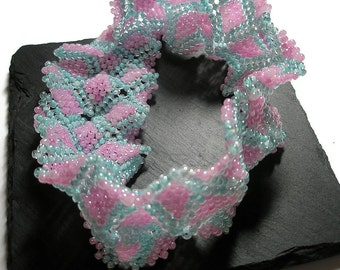 Pink and Aqua Seed Bead bracelet