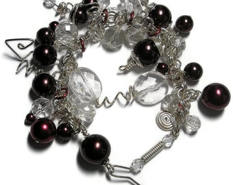 Cranberry Glass pearl and Ice and Silver wire wrapped Bracelet