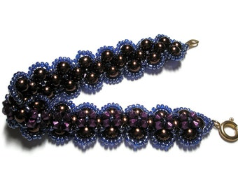 Bracelet Glass Pearls chocolate brown and Purple