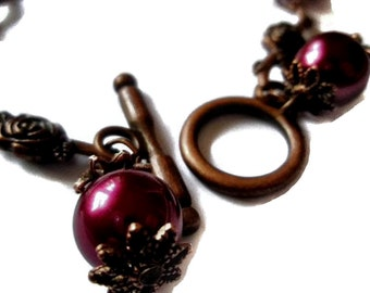 Vintage style Copper Rose and Glass Pearl Bracelet