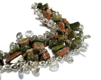 Bracelet Silver chain green pink  unakite gem jewelry