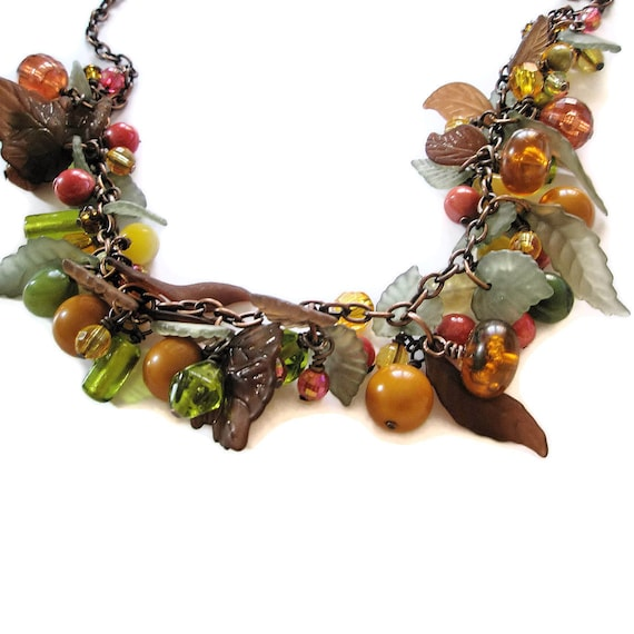Necklace beads Copper Autumn wedding fall bride orange green red brown leaves and berries MADE TO ORDER