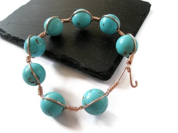 Jewelry Bracelet Turquoise copper wire wrapped  bangle cuff  semi precious