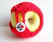 Apple cozy jacket red I heart NY crochet handmade