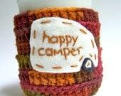 Coffee cozy, tea cosy, Happy Camper, funny, brown, autumn, fall, crochet, cover, rv, trailer, motorhome, travel