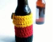 Oktoberfest bottle cozy beer water German flag red black yellow crochet handmade cover