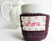 Coffee Mug Tea Cup Cozy Funny purple whore crochet handmade cover