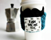 Coffee Cozy Travel Mug To Go Cup Mustache Teal Black White crochet handmade cover