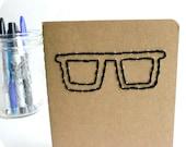Nerd Glasses Moleskine Notebook black brown embroidered stationery notepad