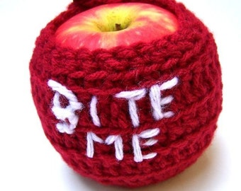 Halloween, bite Me, Apple, fall, apple Cozy, red, white, vampire, snarky, grumpy, unique gift