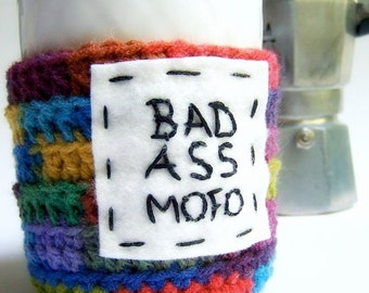 Funny Coffee Mug Cozy Tea Cup Bad Ass Mofo rainbow crochet cover