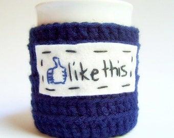 Like Funny Coffee Mug Cozy tea cup navy white Facebook crochet handmade cozy cover