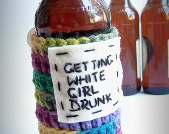 Cozy Cover Bottle Can White Girl Drunk rainbow crochet handmade