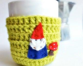 Gnome Funny Coffee Mug Tea Cup Cozy Chartreuse lime green spring crochet handmade cozy cover