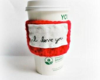Travel Mug coffee tea cozy I love you red white black crochet handmade cover Valentines day