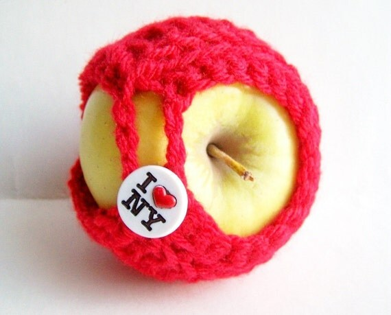 Apple cozy jacket red I heart NY crochet handmade