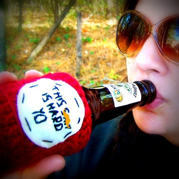 Bottle Cozy Can funny beer water Sh-t is Hard Yo crochet red handmade cover soda drink