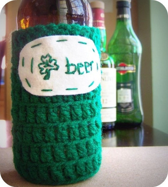 I Shamrock Beer funny beer bottle cozy handmade green st patricks crochet embroidered sleeve