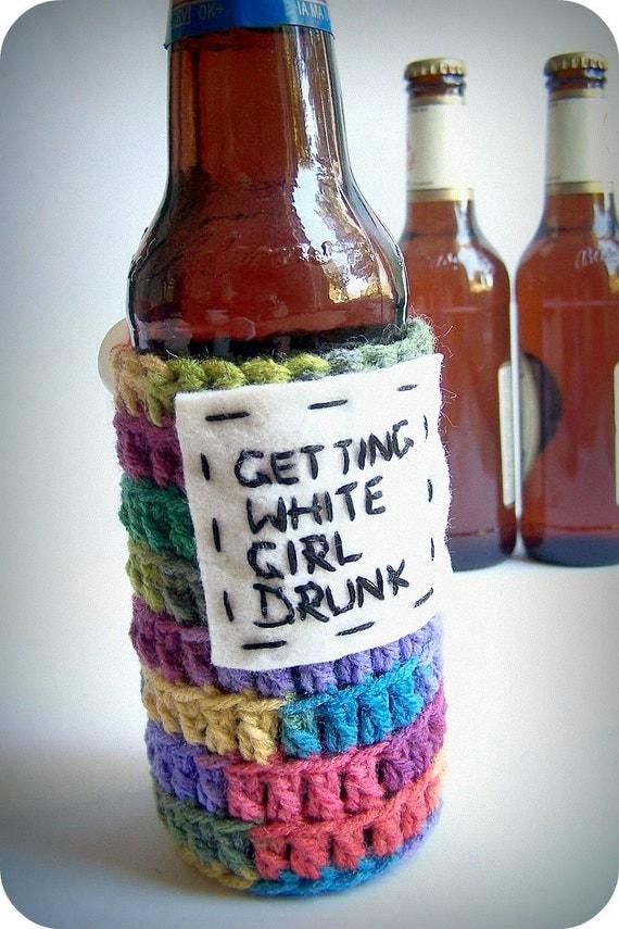 Cozy Cover Bottle Can White Girl Drunk rainbow crochet handmade