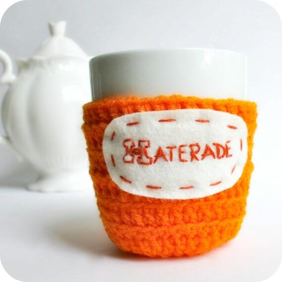 Funny coffee mug cozy tea cup orange neon haterade crochet handmade cover