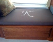 Custom Cushion, Embroidered  Window Seat, Bench Cushion, Monogrammed Cushion, Bench Seat , Chair Pad