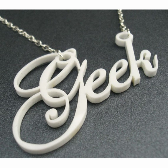 Geek is the New Cool- geek necklace in white