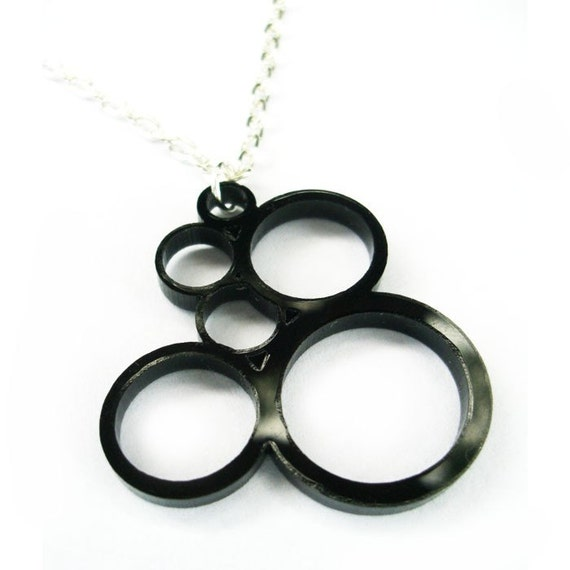 Cellular - laser cut proliferating cell necklace in black acrylic (small) FREE SHIPPING WORLDWIDE