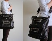 ON SALE Handmade Dark Brown Leather BACKPACK CROSSBODY SHOULDER BAG