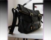 leather handbag---Adeleshop laptop messager satchel purse shoulder cross body bag in black