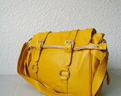 SALE 15% leather handbag---Adeleshop laptop messager satchel purse shoulder cross body bag in yellow