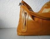 Leather hobo Max gold medium---Adeleshop handmade Leather bag Messenger Diaper bag Shoulder bag Tote Handbag Hip bag Women