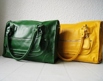 Leather satchel purse - green leather shoulder bag, large leather handbag, leather messenger bag