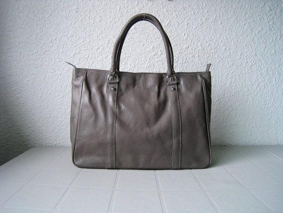 Tote bag grey--Adeleshop handmade Leather bag Messenger Diaper bag Shoulder bag Tote Handbag Hip bag Women
