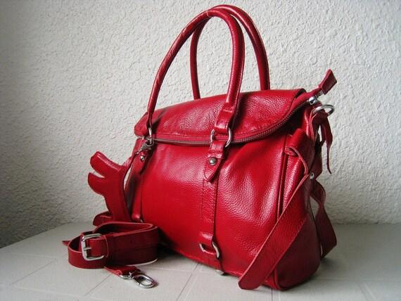 SALE 15% leather handbag---Adeleshop clip on laptop messenger satchel shoulder cross body bag in Red