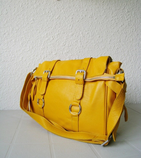 SALE 15% leather handbag---Adeleshop laptop messager satchel purse shoulder cross body bag in yellow