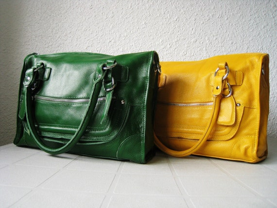 Leather satchel purse green leather shoulder bag large