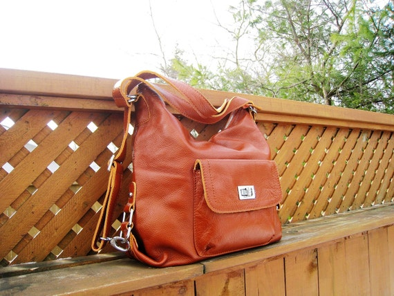 Leather backpack Zoey brown--handmade Leather bag/ Messenger/ Diaper bag/ Shoulder bag/ Tote/ Handbag/ Hip bag/ Women