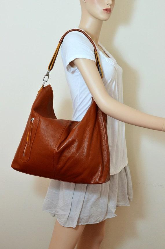 Leather cross body purse / brown leather bag / brown leather hobo
