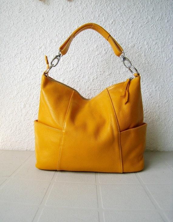 Leather handbag purse Jolie medium yellow---Adeleshop handmade Leather bag Messenger Diaper bag Shoulder bag Tote Hip bag Women